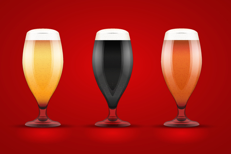 beer tulip: Beer glass with three kind of beers. Lager, Porter and Ale. Vector Illustration Illustration