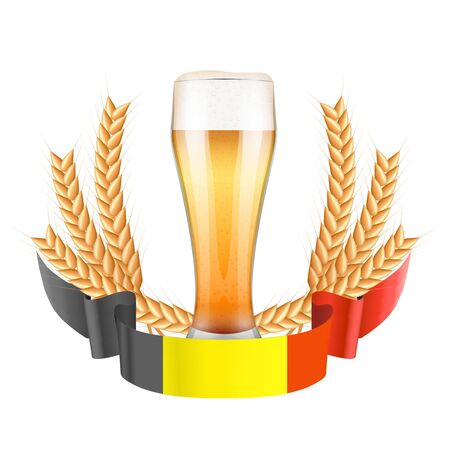 Brewery Label with beer glass and flag of Belgium. Vector Illustration isolated on white background. Illustration