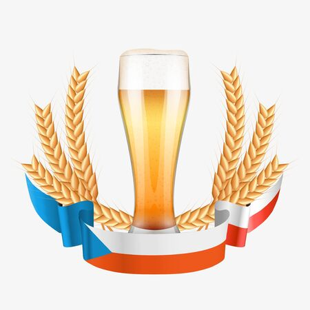 brewery: Brewery Label with beer glass and flag of Czech Republic. Vector Illustration isolated on white background. Illustration