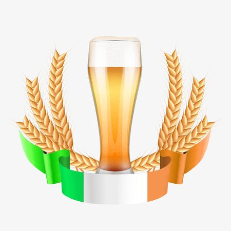 irish pub label design: Brewery Label with beer glass and flag of Ireland. Vector Illustration isolated on white background.