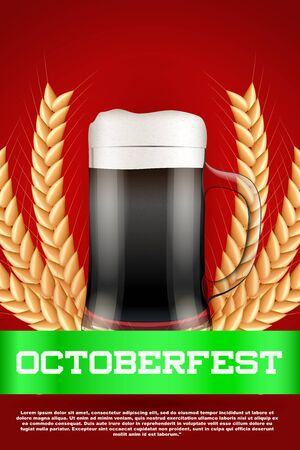 malt: Octoberfest celebration beer poster. Glass with beer and grain malt. Poster and background. Vector Illustration.