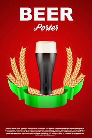 malt: Brewery Label Glass with dark beer Porter and grain malt. Poster and background. Vector Illustration.
