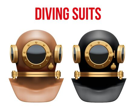 submersion: Set Front view of Underwater diving suit scuba helmet. Water leisure, old style. Illustration Isolated on white background