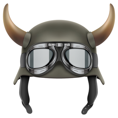 protective goggles: German Army helmet with horns and protective goggles. Illustration isolated on a white background