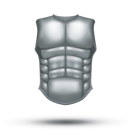 roman empire: Silver ancient gladiator body armor. Illustration isolated on white background. Stock Photo