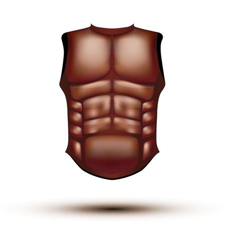 Leather ancient gladiator body armor. Illustration isolated on white background.