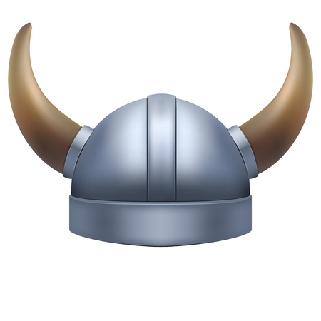 viking: Viking helmet with horns. Illustration isolated on white background.