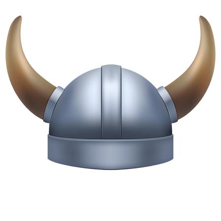 vikingo: Vikingo casco con cuernos. Ilustración aislada en el fondo blanco. Foto de archivo