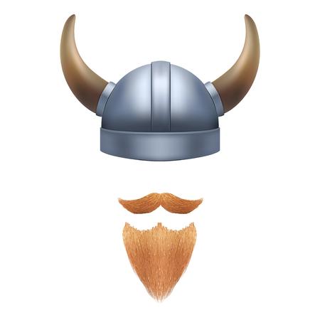 crusades: Viking helmet with horns. Illustration isolated on white background.