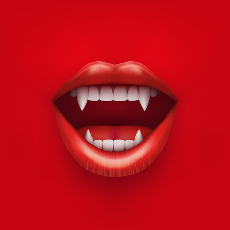 long mouth: Background of vampire mouth with open red lips and long teeth.