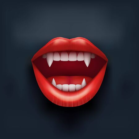 vamp: Dark Background of vampire mouth with open red lips and long teeth.