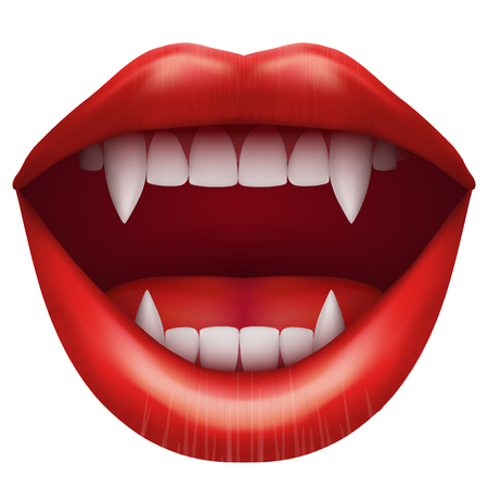 vamp: vampire mouth with open red lips and long teeth. Illustration Isolated on white background. Stock Photo