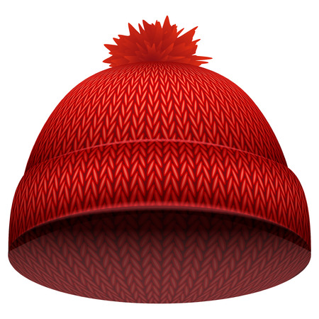woolen: Knitted woolen cap. Winter seasonal red hat. Illustration isolated on white background.