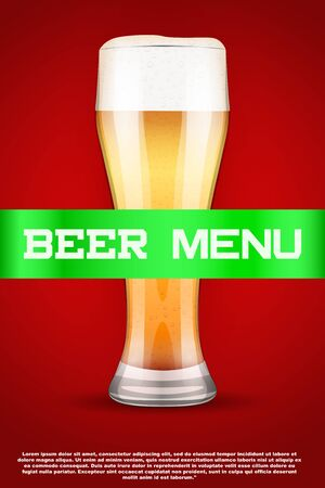 malt: Beer menu poster or cover. Glass with beer and grain malt on background. Vector Illustration. Illustration
