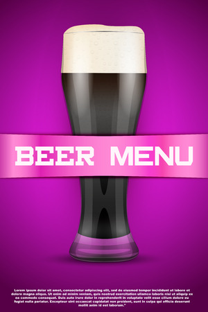 oktober: Beer menu poster or cover. Glass with beer and grain malt on background. Vector Illustration. Illustration
