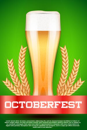 malt: Octoberfest celebration beer poster. Glass with light beer and grain malt. Poster and background. Vector Illustration. Illustration