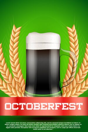 malt: Octoberfest celebration beer poster. Mug with beer and grain malt. Poster and background. Vector Illustration.