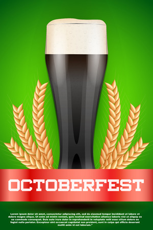 malt: Octoberfest celebration beer poster. Glass with dark beer and grain malt. Poster and background. Vector Illustration. Illustration