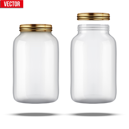 Glass Jars for canning and preserving. With cover and without lid. Zdjęcie Seryjne - 45054264