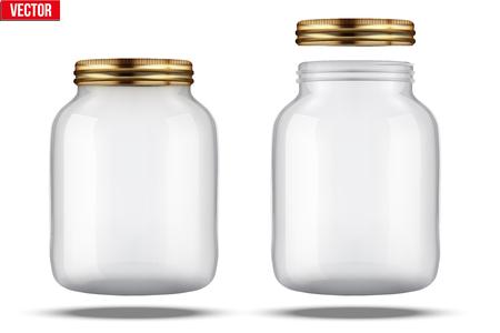 mermelada: Tarros de vidrio para Fabricaci�n de conservas. Con tapa y sin tapa. Vectores