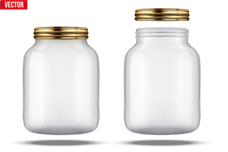 Glass: Tarros de vidrio para Fabricación de conservas. Con tapa y sin tapa. Vectores