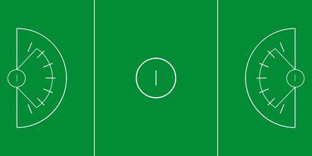 Sample of lacrosse field in a simple outline. Flat design. Vector illustration.