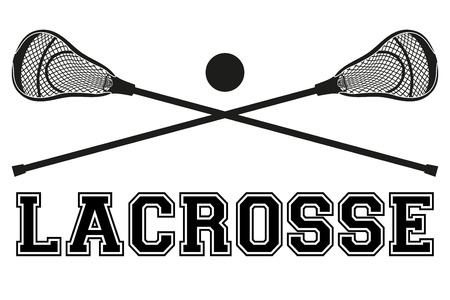 lacrosse: Lacrosse sticks and ball. Flat and silhouette style. Sport Equipment Front View. Vector illustration isolated on white background.