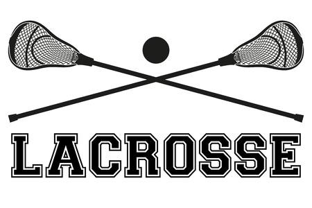 Lacrossestokken en bal. Flat en silhouet stijl. Sport Equipment vooraanzicht. Vector illustratie op een witte achtergrond. Stockfoto - 45054985