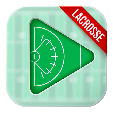 matting: Application icon for lacrosse live sports broadcasts or games. Illustration of sporting field under matting glass and play button. Illustration
