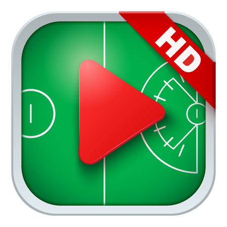 lacrosse: Application icon for lacrosse live sports broadcasts or games. Illustration of sporting field and play button.
