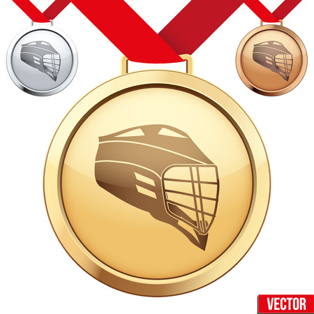 lacrosse: Three Medals with the symbol of lacrosse inside. Gold, Silver and Bronze. Vector Illustration isolated on white background.