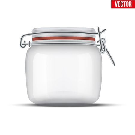 canning: Glass Jar for canning and preserving. With locked lid. Illustration