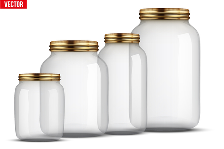 Set of Glass Jars for canning and preserving. With cover and without lid.