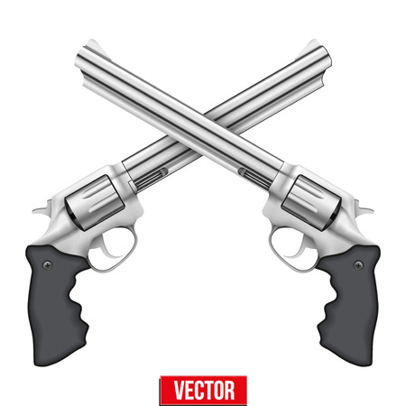 cross armed: Cross of Big Revolvers. Silver bright metal. Vector Illustration isolated on white background.
