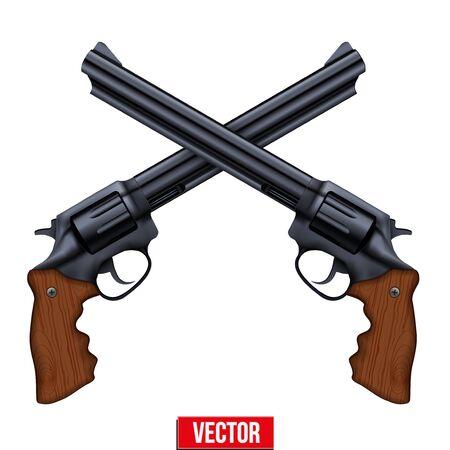 gunshot: Cross of Big Revolvers. Black gun metal. Vector Illustration isolated on white background.