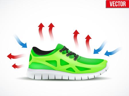 Ilustración técnica de un calzado resistente al agua y las condiciones del aire. Demostración de la estructura del material. Ilustración del vector aislado en el fondo blanco