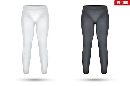 thermo: Base layer compression pants of thermo fabric. Sample typical technical illustration.  Vector Illustration isolated on white background