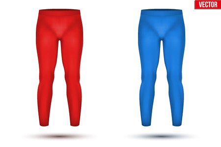 thermo: Base layer compression pants of thermo fabric. Sample typical technical illustration. Red and blue color. Vector Illustration isolated on white background Illustration