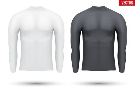 thermo: Base layer compression shirt with long sleeve of thermo fabric. Sample typical technical illustration.  Vector Illustration isolated on white background