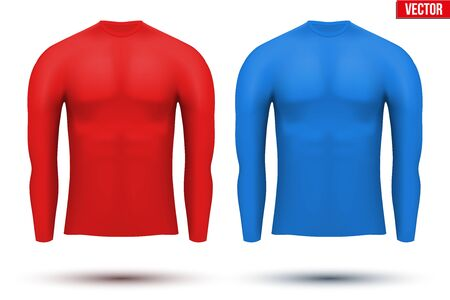 thermo: Base layer compression shirt with long sleeve of thermo fabric. Sample typical technical illustration. Red and blue color.  Vector Illustration isolated on white background