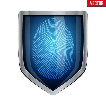 fingerprint: Fingerprint scanner inside the shield. The concept of protection Illustration