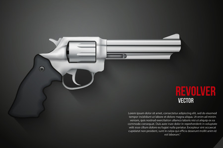 old metal: Background of silver gun metal Revolver Vector Illustration Illustration