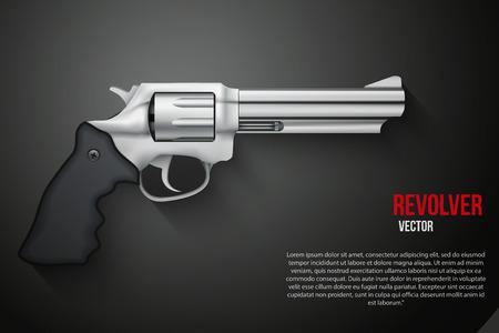 black history: Background of silver gun metal Revolver Vector Illustration Illustration