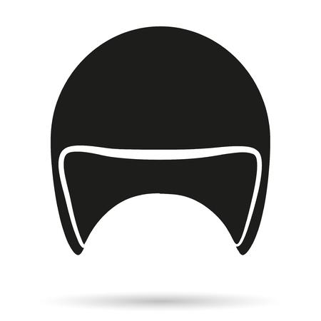 casco de moto: Símbolo de la silueta del casco clásico moto. ilustración aislado sobre fondo blanco, Foto de archivo