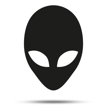 another: Silhouette symbol of Alien head creature from another world.