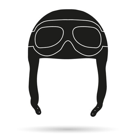 airman: Silhouette symbol of Retro aviator pilot leather helmet with goggles. Illustration Isolated on white