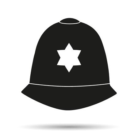 gorra polic�a: S�mbolo de la silueta del casco aut�ntica tradicional de los agentes de polic�a brit�nicos metropolitanas.