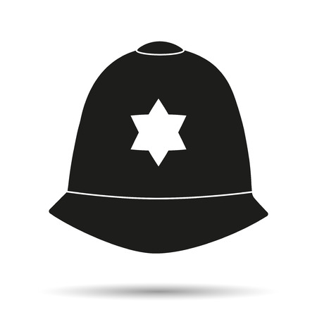 Silhouette symbol of traditional authentic helmet of metropolitan British police officers.
