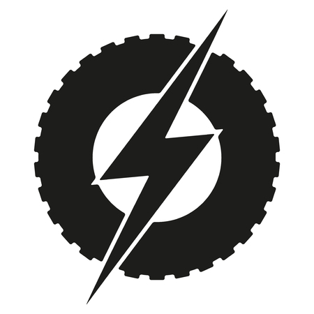 electric automobile: Logotype round wheel with lightning. Eco electric transport theme. Car and automobile industry. Illustration isolated on white background. Stock Photo