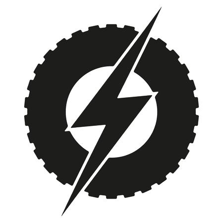 rayo electrico: rueda redonda Logotipo con el rayo. tema de transporte eléctrico ecológico. Car y la industria del automóvil. Ilustración sobre fondo blanco.